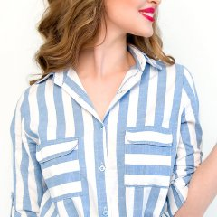 Waist Tie Dress in Blue and White Stripe
