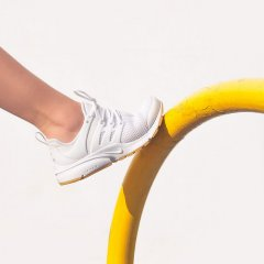 White Lace-Up Mesh Trainers