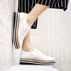 Platform Brogue-Trim Leather Oxfords in White